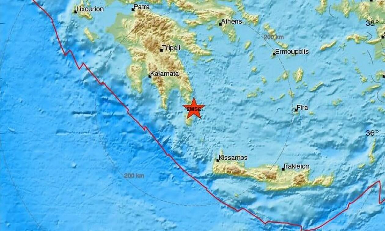 Σεισμός μεταξύ Λακωνίας και Κυθήρων