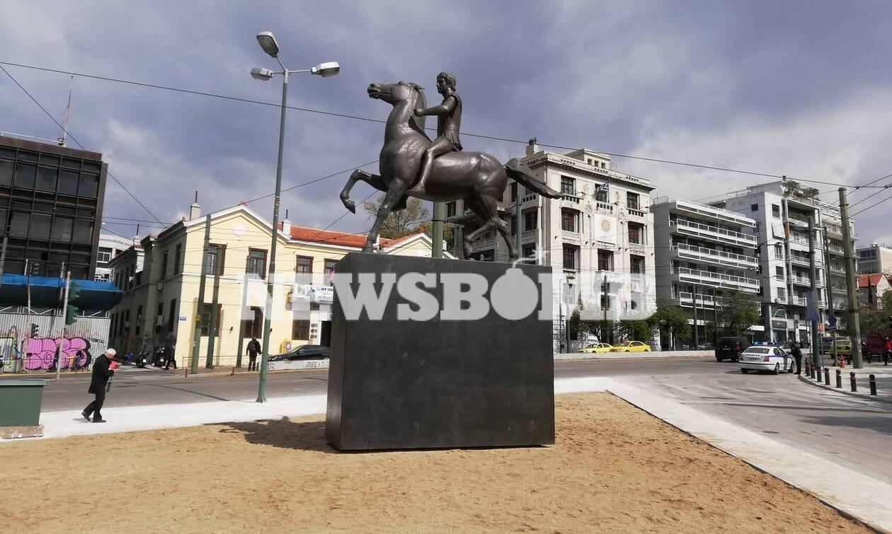 Έγιναν τα αποκαλυπτήρια του αγάλματος του Μεγάλου Αλεξάνδρου στην Αθήνα (pics+ vids)