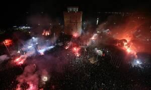 ΠΑΟΚ: Γλέντι πρωταθλητών μέχρι το πρωί - «Κάηκε» ο Λευκός Πύργος (pics+vids)
