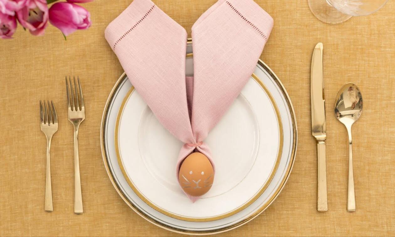 Διακόσμηση πασχαλινού τραπεζιού - Το αβγό που γίνεται λαγός (pics&vid)