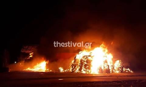 Θεσσαλονίκη: Μεγάλη φωτιά σε εργοστάσιο ανακύκλωσης στη Σίνδο (pics+vid)