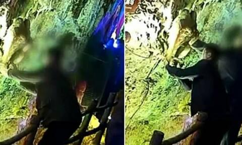 Τουρίστες αποκόλλησαν αρχαίο σταλακτίτη για να τον πάρουν ως σουβενίρ! (video+photo)