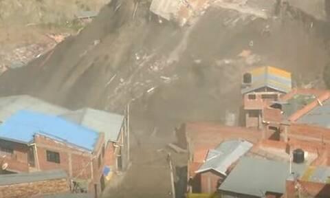 Συγκλονιστικές εικόνες: Κατολίσθηση στη Βολιβία παρασύρει δεκάδες σπίτια (vid)