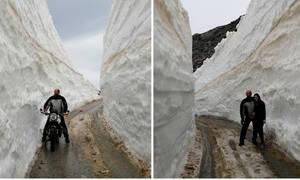 Μπήκε Μάιος αλλά ο Ψηλορείτης το… χαβά του - Δείτε φωτογραφίες όπου το χιόνι υπερβαίνει τα 5 μέτρα