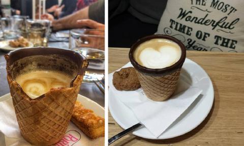 Η πρώτη καφετέρια στην Ελλάδα που σερβίρει ροφήματα σε «γκοφρετένιο» ποτήρι! (video+photos)