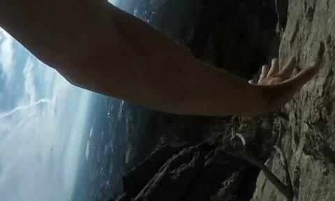 Ορειβάτης έπεσε από τα βράχια και το έγραψε στην κάμερα (vid)
