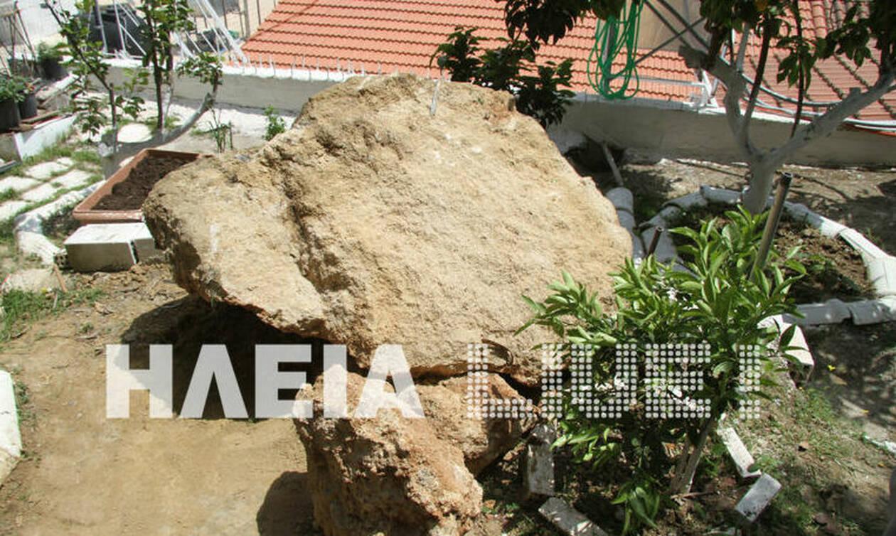 Zημιές από τους σεισμούς στην Ηλεία: Βράχος έπεσε σε αυλή σπιτιού (pics)