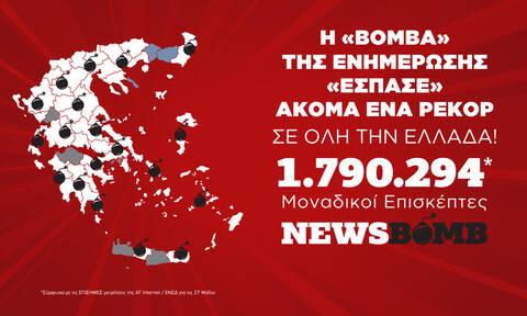 Το Newsbomb.gr σπάει το ένα ρεκόρ μετά το άλλο - 1.790.294 μοναδικοί επισκέπτες τη Δευτέρα 27 Μαΐου
