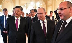 Путин и Си Цзиньпин получили в подарок фрагмент ленты ТАСС 70-летней давности