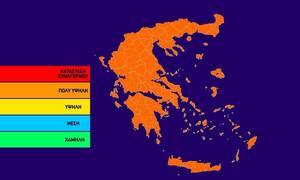 Ο χάρτης πρόβλεψης κινδύνου πυρκαγιάς για την Τρίτη 25/6 (pic)