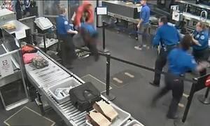 Απίστευτες εικόνες! Τρομερό ξύλο σε έλεγχο αεροδρομίου (photos+video)