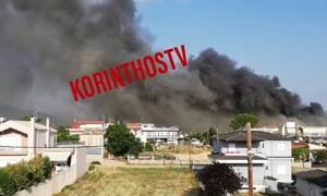 Μεγάλη φωτιά σε σούπερ μάρκετ στο Χιλιομόδι Κορινθίας (pics&vids)