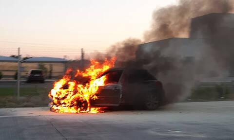 Λαχτάρα για οδηγό: Αυτοκίνητο «λαμπάδιασε» λίγο έξω από τη Λάρισα (vid)