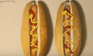 Κοίταξε προσεκτικά: Ένα από τα δύο hot dog είναι ζωγραφιά! (vid)