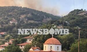 Φωτιά ΤΩΡΑ: Νύχτα αγωνίας στην Εύβοια - Μάχη με τις φλόγες (pics+vid)