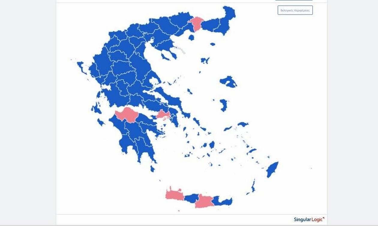 Αποτελέσματα εκλογών 2019: Επικράτηση της ΝΔ στις 52 από τις 59 εκλογικές περιφέρειες