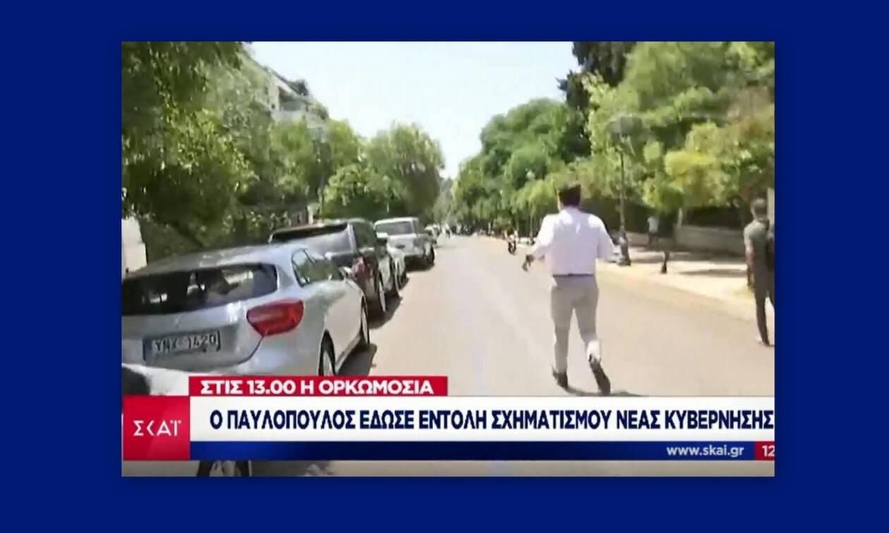 Απίστευτο σκηνικό on air! Ο Υποφάντης κυνηγάει τον Μητσοτάκη έξω από το Προεδρικό Μέγαρο (Vid)