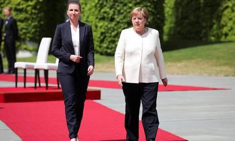 Μέρκελ: Δείτε πώς υποδέχτηκε την πρωθυπουργό της Δανίας μετά το τρίτο επεισόδιο με τρέμουλο (pics)
