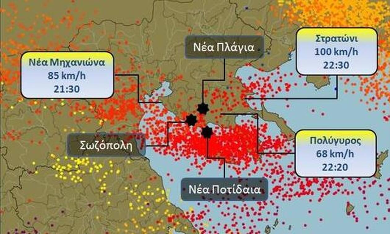 Φονική καταιγίδα Χαλκιδική: Συγκλονίζουν οι εικόνες που κατέγραψε ο δορυφόρος (pics-vid)