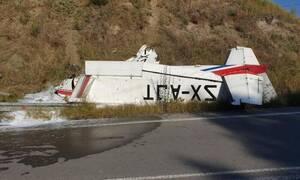 Γρεβενά: Εικόνες σοκ από την αναγκαστική προσγείωση του αεροσκάφους - Συγκλονίζει ο πιλότος