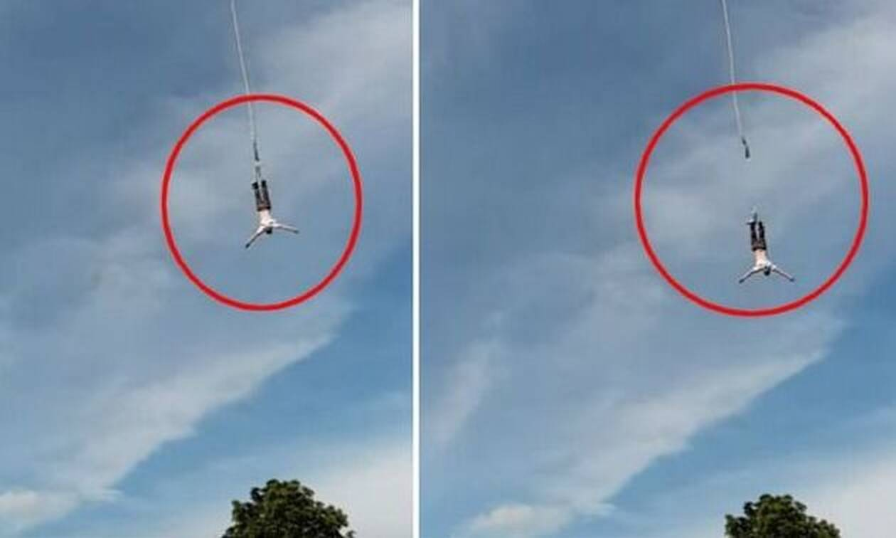 Σοκαριστικό video: Η στιγμή που σπάει το σκοινί ενώ κάνει bungee jumping  (Προσοχή: Σκληρές εικόνες)