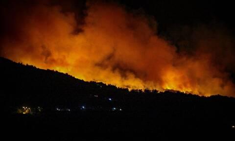Φωτιά ΤΩΡΑ: Πύρινος εφιάλτης στην Τανάγρα - Ολονύχτια μάχη με τις φλόγες (pics+vid)
