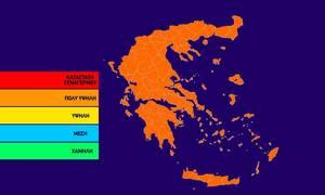 Ο χάρτης πρόβλεψης κινδύνου πυρκαγιάς για την Τετάρτη 7/8 (pic)