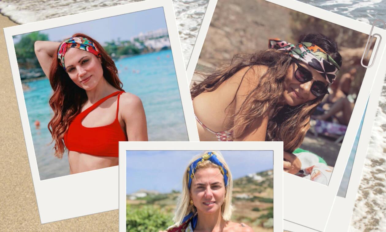 Ελληνίδες celebrities σου δείχνουν 5+1 τρόπους για να φορέσεις μπαντάνα στην παραλία