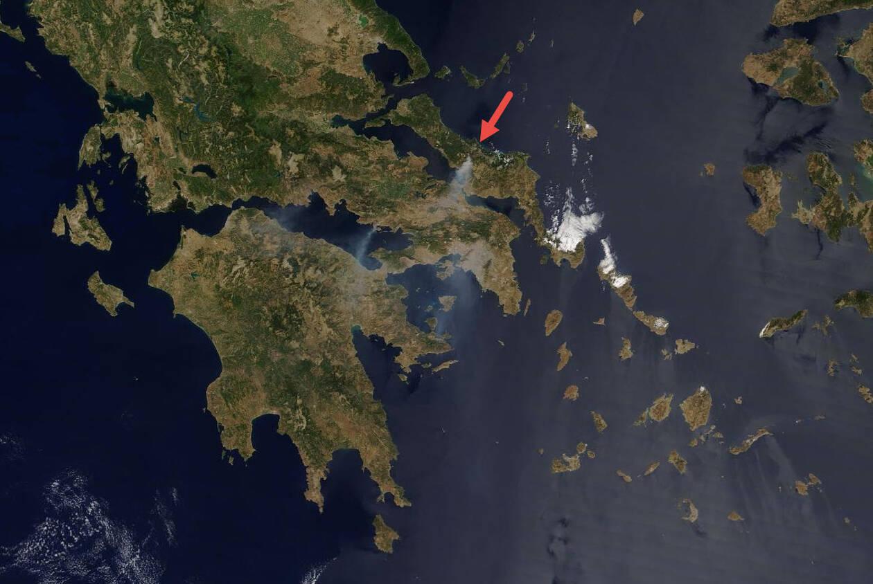 Φωτιά Εύβοια Αποκαλυπτική η τελευταία δορυφορική φωτογραφία από τη NASA