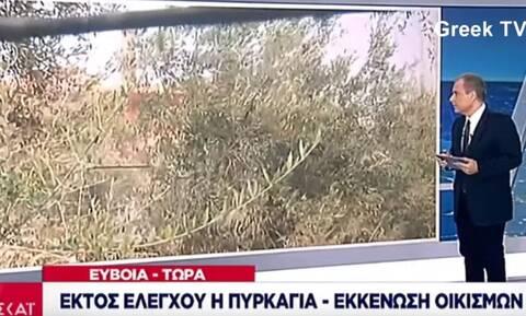 Φωτιά στην Εύβοια: «Ας καεί, ας καεί» – Η ατάκα ΣΟΚ στον αέρα του ΣΚΑΪ που πάγωσε τους πάντες