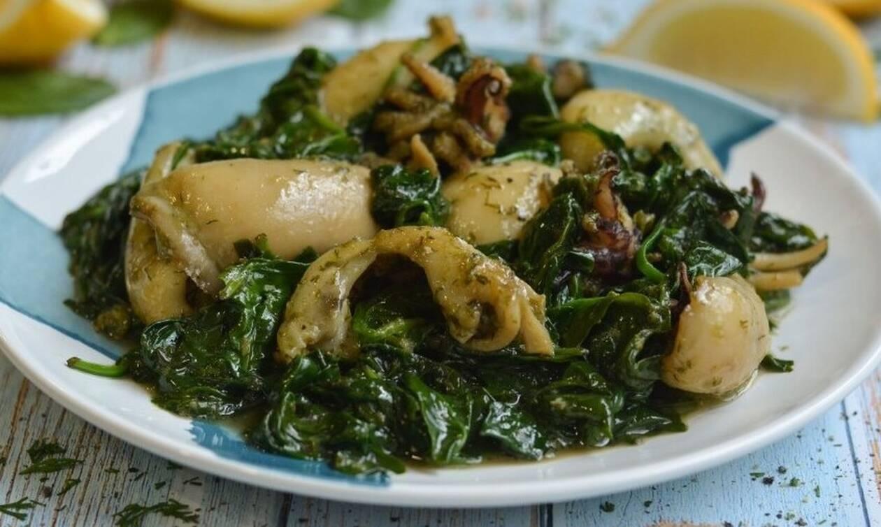 Η συνταγή της ημέρας: Αγιορείτικες σουπιές με σπανάκι