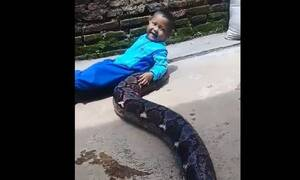Τρομερό! Πιτσιρικάς παίζει με τεράστιο πύθωνα (vid)