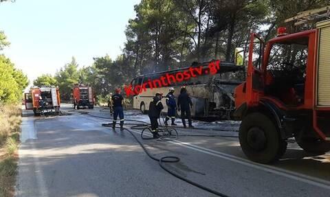 Συναγερμός στην πυροσβεστική: Φωτιά σε λεωφορείo στην Εθνική Οδό Πρέβεζας- Ηγουμενίτσας