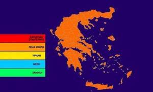 Ο χάρτης πρόβλεψης κινδύνου πυρκαγιάς για την Τετάρτη 21/8 (pic)