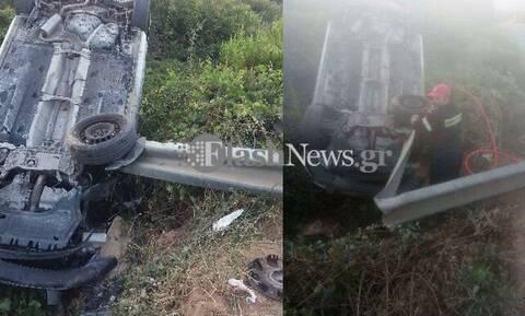 Τρομακτικό τροχαίο ατύχημα στα Χανιά - Αυτοκίνητο καρφώθηκε πάνω σε μπάρα