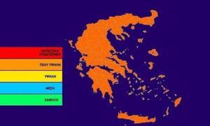 Πορτοκαλί συναγερμός! Ο χάρτης πρόβλεψης κινδύνου πυρκαγιάς για την Παρασκευή 23/8 (pic)