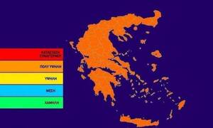 Πολύ υψηλός κίνδυνος πυρκαγιάς! Ο χάρτης πρόβλεψης κινδύνου για τη Δευτέρα 26/8 (pic)