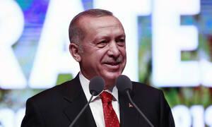 Эрдоган выступил на фоне карты, на которой половина островов Эгейского моря обозначены как турецкие