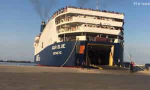 «Aqua Blue» with more than 720 refugees and migrants arrived at the port of Thessaloniki
