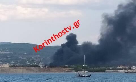 Συναγερμός στο Λουτράκι: Φωτιά κοντά στο στρατόπεδο της Σχολής Μηχανικού (pics&vid)
