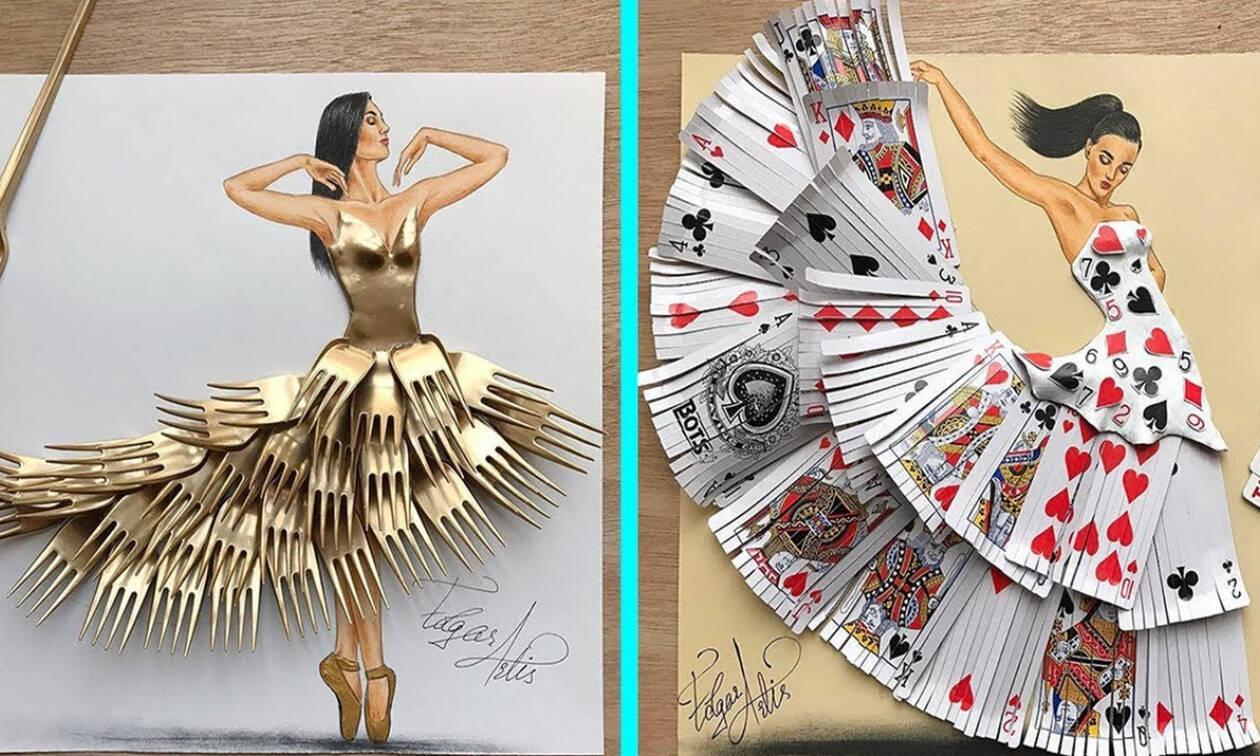 Αυτό και αν είναι τέχνη! Δημιουργεί φορέματα από αντικείμενα καθημερινής χρήσης (vid)