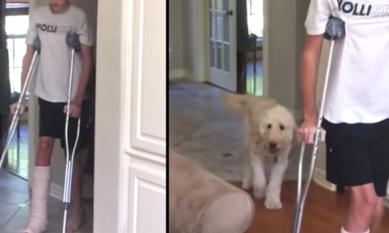 Σκύλος κουτσαίνει ΑΚΡΙΒΩΣ όπως το αφεντικό του! - Δείτε το απίθανο βίντεο