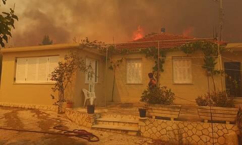 Wildfire near Keri village on Zakynthos; houses evacuated
