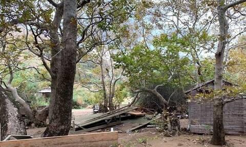 Μενεγάκη - Παντζόπουλος: Εικόνες καταστροφής στo ξενοδοχείο τους στην Άνδρο (Pics)