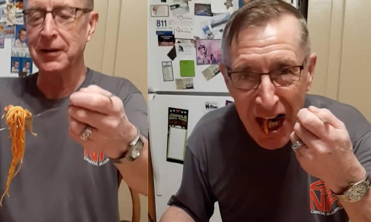 Δεν φαντάζεστε πώς τρώει τα μακαρόνια του (vid)