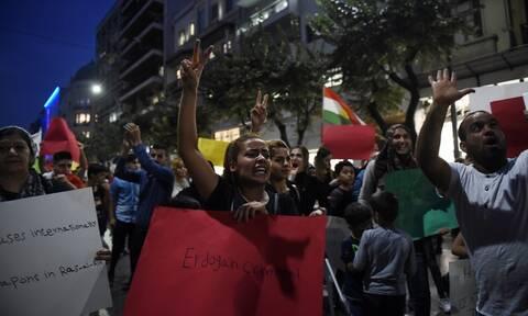 Ένταση στην πορεία των Κούρδων στην Αθήνα (pics)