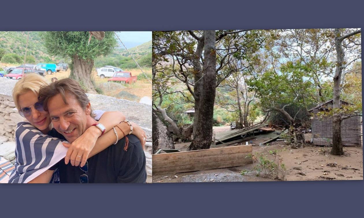 Μενεγάκη-Παντζόπουλος: Μαζεύουν τις «πληγές» τους μετά την καταστροφή στο ξενοδοχείο (Photos)