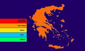 Ο χάρτης πρόβλεψης κινδύνου πυρκαγιάς για την Τρίτη 22/10 (pic)