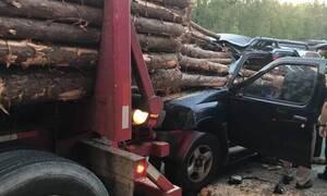 Φρικτό τροχαίο: Κορμοί δέντρων καρφώθηκαν σε αυτοκίνητο - Σκληρές εικόνες