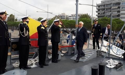 Στο θρυλικό αντιτορπιλικό «Βέλος» ξεναγήθηκε ο Πρόεδρος της Δημοκρατίας